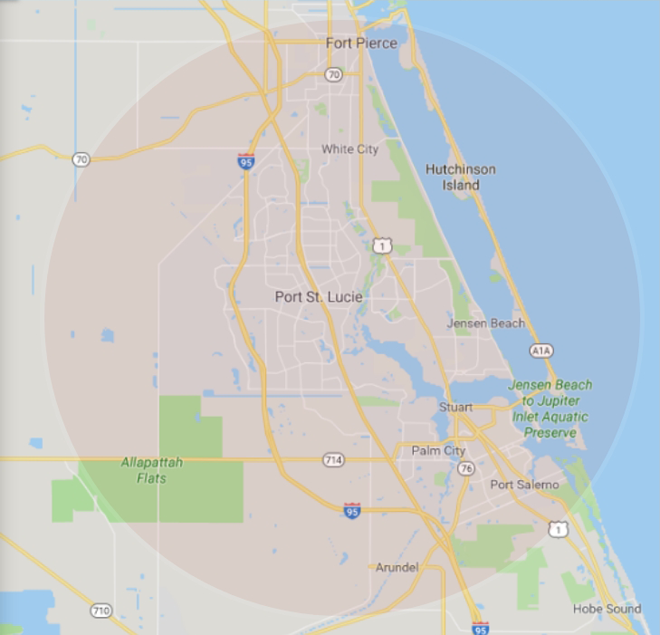 coverage area map from port st lucie